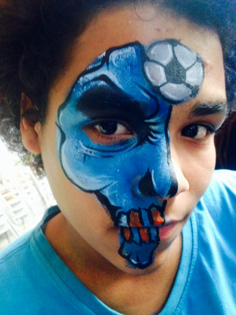 soccer skull face art by melissa nyc face painter
